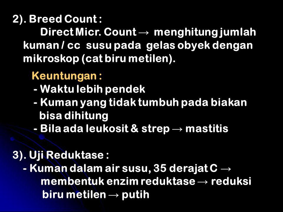 2). Breed Count : Direct Micr. Count → menghitung jumlah kuman / cc susu pada gelas obyek dengan mikroskop (cat biru metilen). Keuntungan : - Waktu le