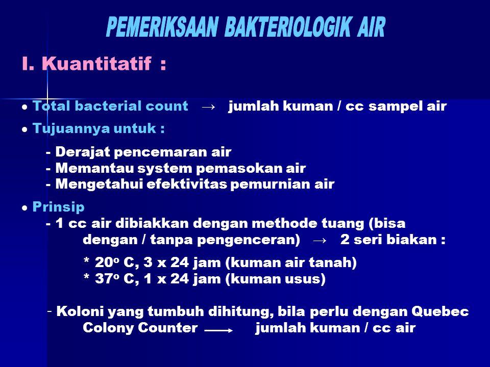 I. Kuantitatif :  Total bacterial count → jumlah kuman / cc sampel air  Tujuannya untuk : - Derajat pencemaran air - Memantau system pemasokan air -