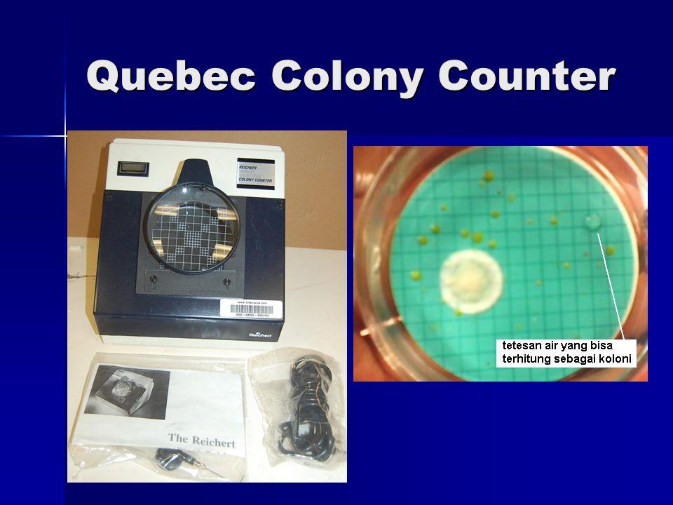 n : Jumlah koloni 10 kotak Л r2 : Luas lempeng p: Pengenceran - Jenis media yang dipakai bermacam-macam (Agar Tryptone Extract = TGE, Agar Plate Count, Agar Nutrient), suhu pengeraman macam-macam → hasil disebutkan lengkap, misal : T P C (Agar TGE, 24 jam, 37° C) = 120 kuman / cc sampel air II.