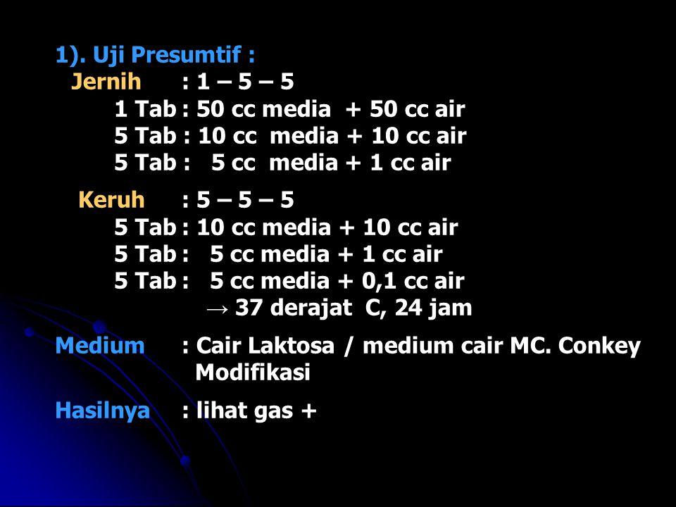 1). Uji Presumtif : Jernih: 1 – 5 – 5 1 Tab: 50 cc media + 50 cc air 5 Tab : 10 cc media + 10 cc air 5 Tab : 5 cc media + 1 cc air Keruh: 5 – 5 – 5 5