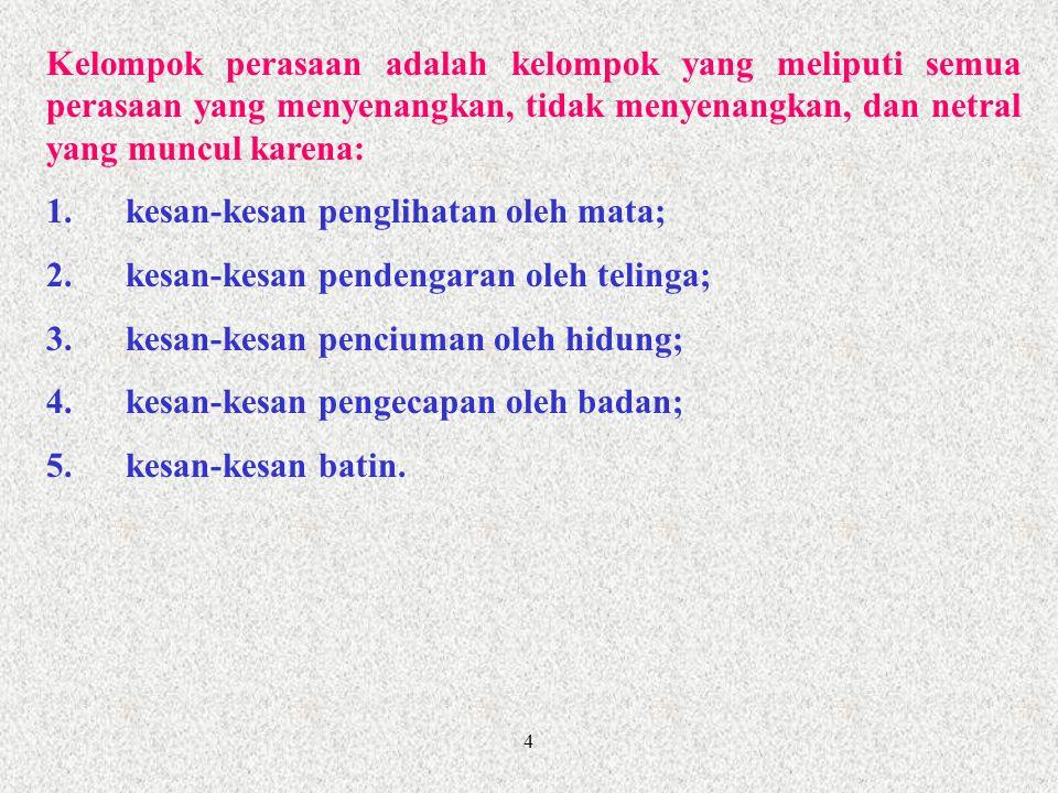 5 Kelompok pencerapan adalah kelompok yang meliputi semua pencerapan yang menyenangkan, tidak menyenangkan, dan netral yang terdiri atas: 1.