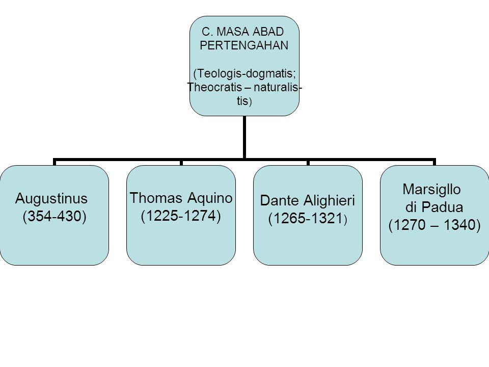 C. MASA ABAD PERTENGAHAN (Teologis-dogmatis; Theocratis – naturalis- tis) Augustinus (354-430) Thomas Aquino (1225-1274) Dante Alighieri (1265-1321) M
