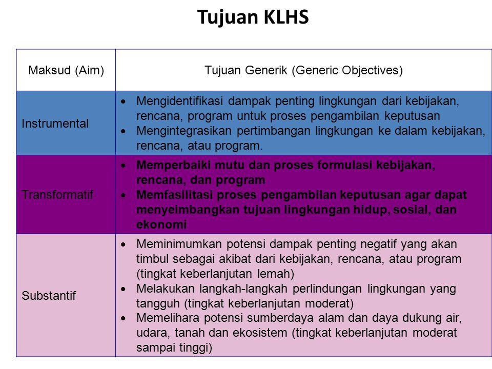 Tujuan KLHS Maksud (Aim)Tujuan Generik (Generic Objectives) Instrumental  Mengidentifikasi dampak penting lingkungan dari kebijakan, rencana, program