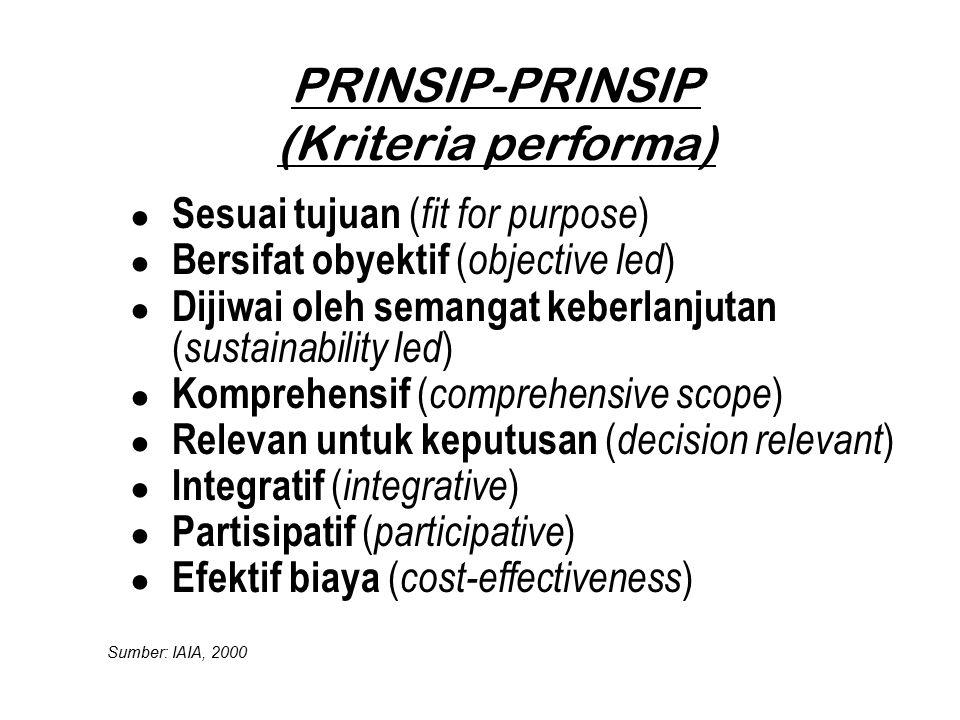 PRINSIP-PRINSIP (Kriteria performa) ● Sesuai tujuan ( fit for purpose ) ● Bersifat obyektif ( objective led ) ● Dijiwai oleh semangat keberlanjutan (