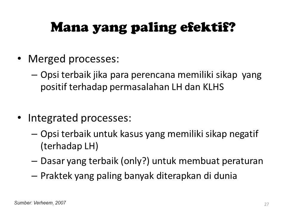27 Mana yang paling efektif? Merged processes: – Opsi terbaik jika para perencana memiliki sikap yang positif terhadap permasalahan LH dan KLHS Integr