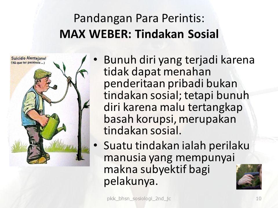 Pandangan Para Perintis: MAX WEBER: Tindakan Sosial Bunuh diri yang terjadi karena tidak dapat menahan penderitaan pribadi bukan tindakan sosial; teta
