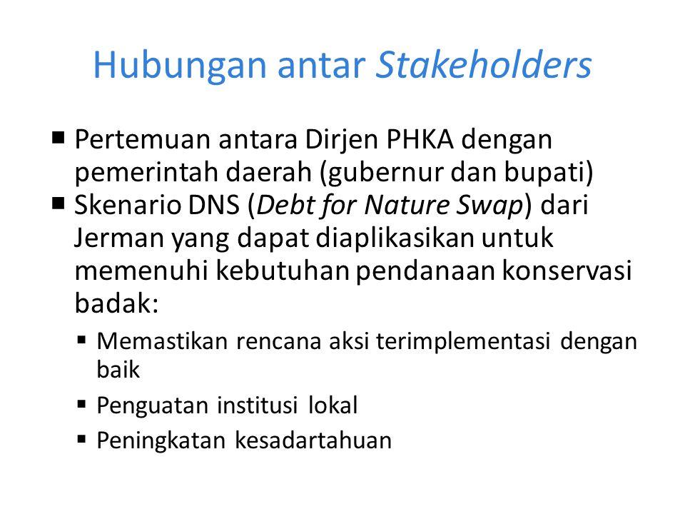 Hubungan antar Stakeholders  Pertemuan antara Dirjen PHKA dengan pemerintah daerah (gubernur dan bupati)  Skenario DNS (Debt for Nature Swap) dari J