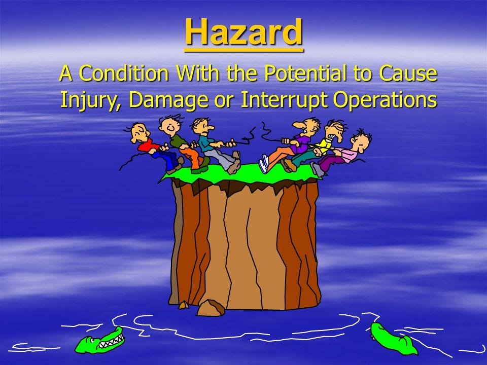 HAZARD Adalah suatu obyek dimana terdapat energi, zat atau kondisi kerja yang potensial dapat mengancam keselamatan Hazard dapat berupa: bahan-bahan, bagian-bagian mesin, bentuk energi, metode kerja atau situasi kerja.
