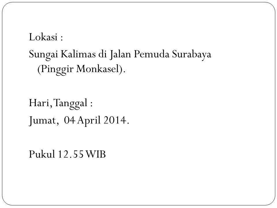 Lokasi : Sungai Kalimas di Jalan Pemuda Surabaya (Pinggir Monkasel). Hari, Tanggal : Jumat, 04 April 2014. Pukul 12.55 WIB