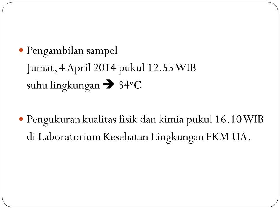 Pengambilan sampel Jumat, 4 April 2014 pukul 12.55 WIB suhu lingkungan  34 o C Pengukuran kualitas fisik dan kimia pukul 16.10 WIB di Laboratorium Ke