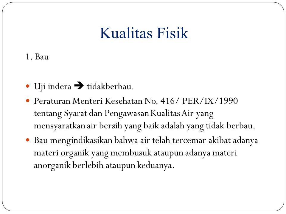 1. Bau Uji indera  tidakberbau. Peraturan Menteri Kesehatan No. 416/ PER/IX/1990 tentang Syarat dan Pengawasan Kualitas Air yang mensyaratkan air ber