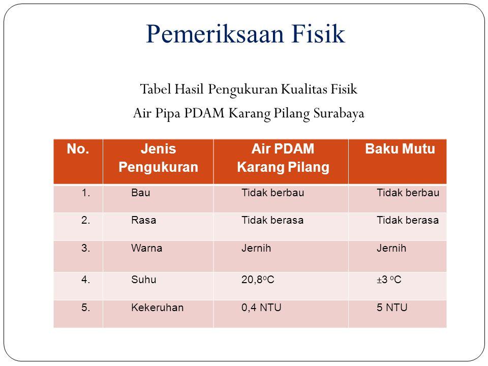 Pemeriksaan Fisik Tabel Hasil Pengukuran Kualitas Fisik Air Pipa PDAM Karang Pilang Surabaya No. Jenis Pengukuran Air PDAM Karang Pilang Baku Mutu 1.B