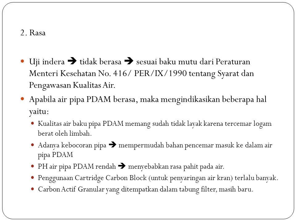 2. Rasa Uji indera  tidak berasa  sesuai baku mutu dari Peraturan Menteri Kesehatan No. 416/ PER/IX/1990 tentang Syarat dan Pengawasan Kualitas Air.