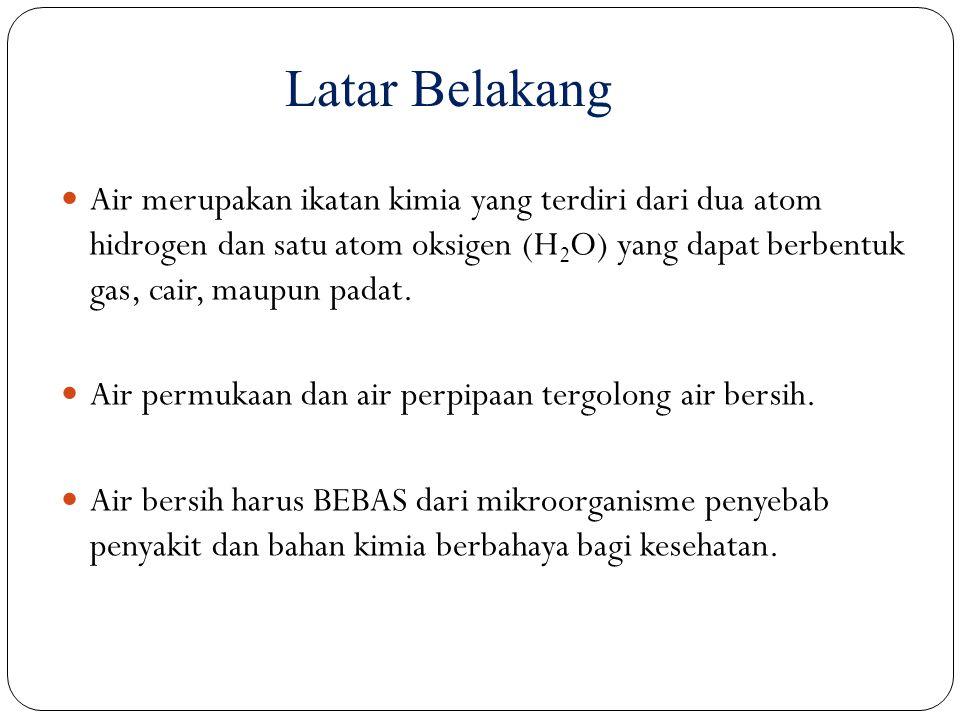 Latar Belakang Air merupakan ikatan kimia yang terdiri dari dua atom hidrogen dan satu atom oksigen (H 2 O) yang dapat berbentuk gas, cair, maupun pad
