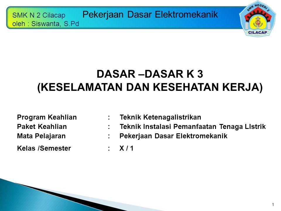 SMK N 2 Cilacap oleh : Siswanta, S.Pd Pekerjaan Dasar Elektromekanik 1 Program Keahlian:Teknik Ketenagalistrikan Paket Keahlian:Teknik Instalasi Peman
