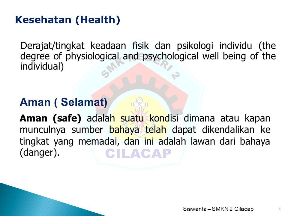 Siswanta – SMKN 2 Cilacap 5 Merupakan tingkat bahaya dari suatu kondisi dimana atau kapan muncul sumber bahaya.