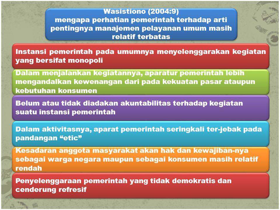 Wasistiono (2004:9) mengapa perhatian pemerintah terhadap arti pentingnya manajemen pelayanan umum masih relatif terbatas Wasistiono (2004:9) mengapa