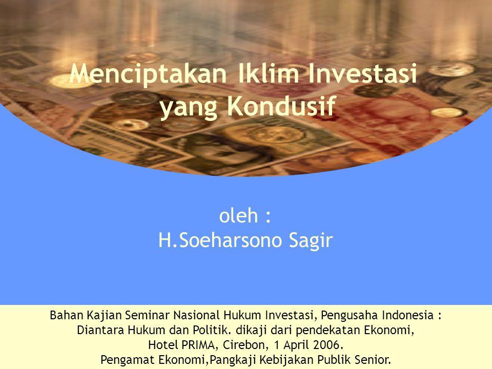 Menciptakan Iklim Investasi yang Kondusif Bahan Kajian Seminar Nasional Hukum Investasi, Pengusaha Indonesia : Diantara Hukum dan Politik. dikaji dari