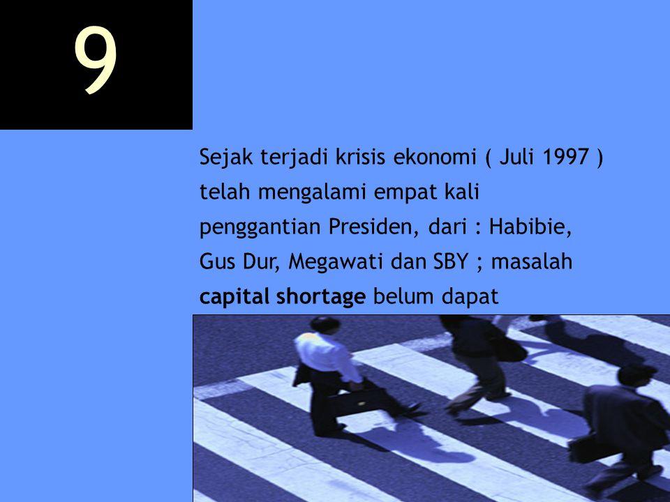 Sejak terjadi krisis ekonomi ( Juli 1997 ) telah mengalami empat kali penggantian Presiden, dari : Habibie, Gus Dur, Megawati dan SBY ; masalah capita