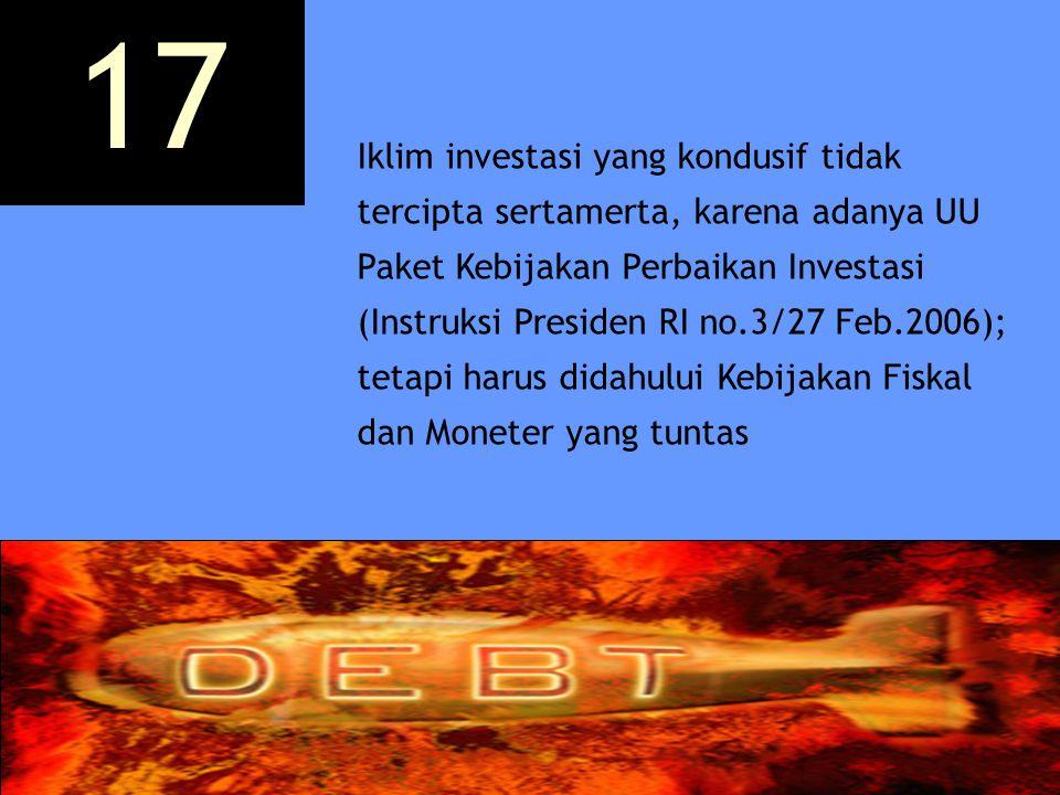 Iklim investasi yang kondusif tidak tercipta sertamerta, karena adanya UU Paket Kebijakan Perbaikan Investasi (Instruksi Presiden RI no.3/27 Feb.2006)