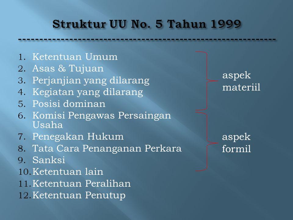 1. Ketentuan Umum 2. Asas & Tujuan 3. Perjanjian yang dilarang 4. Kegiatan yang dilarang 5. Posisi dominan 6. Komisi Pengawas Persaingan Usaha 7. Pene