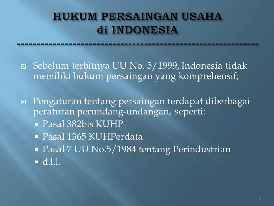  Sebelum terbitnya UU No. 5/1999, Indonesia tidak memiliki hukum persaingan yang komprehensif;  Pengaturan tentang persaingan terdapat diberbagai pe