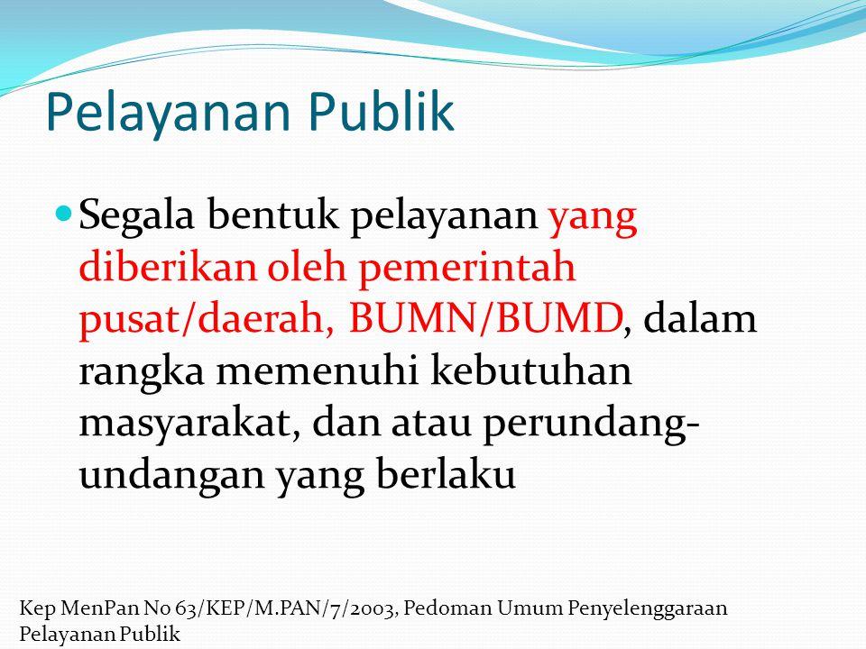 Pelayanan Publik Segala bentuk pelayanan yang diberikan oleh pemerintah pusat/daerah, BUMN/BUMD, dalam rangka memenuhi kebutuhan masyarakat, dan atau
