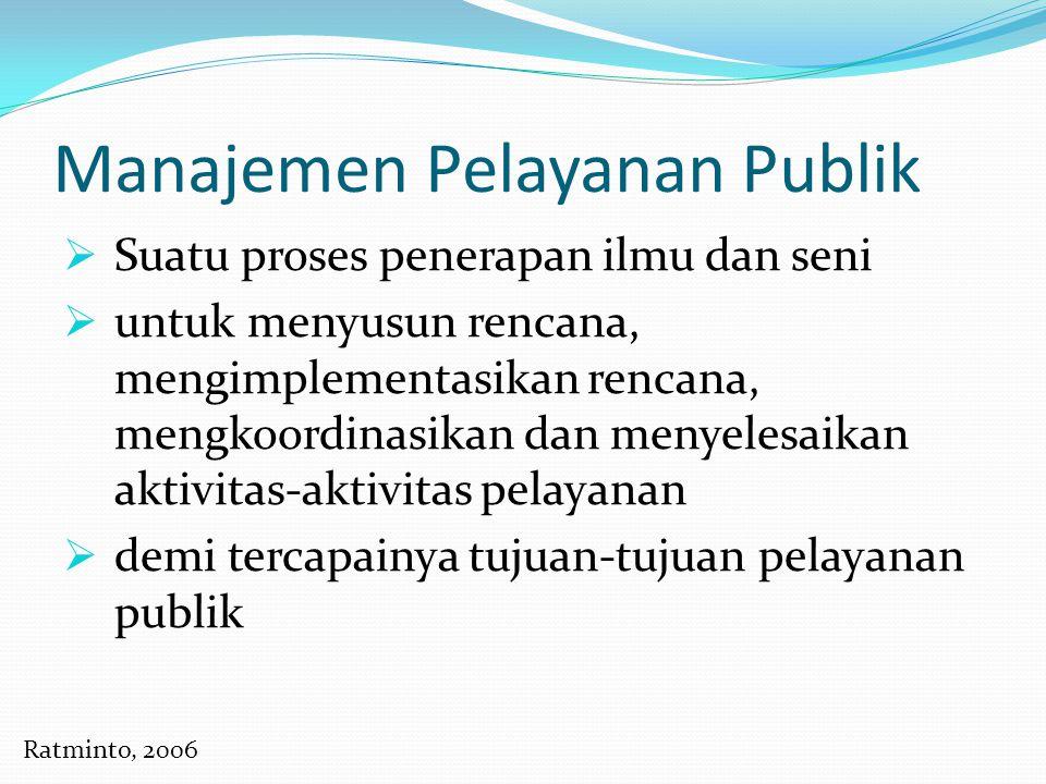 Manajemen Pelayanan Publik  Suatu proses penerapan ilmu dan seni  untuk menyusun rencana, mengimplementasikan rencana, mengkoordinasikan dan menyele