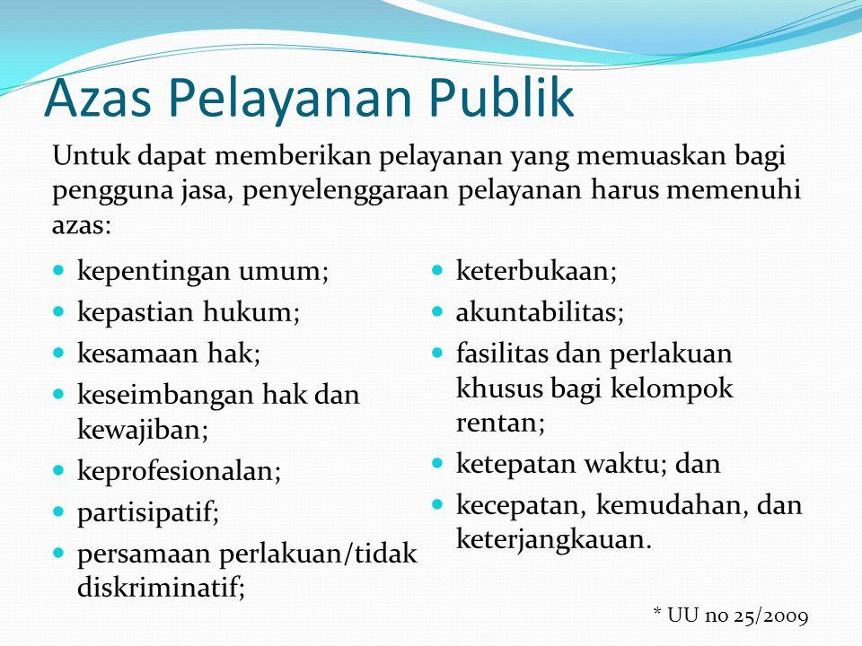 Azas Pelayanan Publik Untuk dapat memberikan pelayanan yang memuaskan bagi pengguna jasa, penyelenggaraan pelayanan harus memenuhi azas: kepentingan u