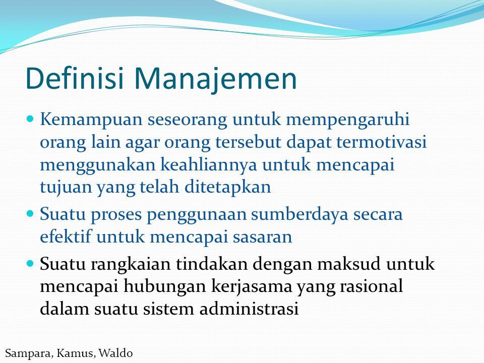 Definisi Manajemen Kemampuan seseorang untuk mempengaruhi orang lain agar orang tersebut dapat termotivasi menggunakan keahliannya untuk mencapai tuju