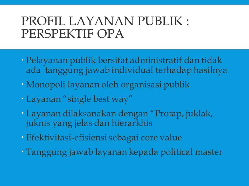 PROFIL LAYANAN PUBLIK : PERSPEKTIF OPA  Pelayanan publik bersifat administratif dan tidak ada tanggung jawab individual terhadap hasilnya  Monopoli