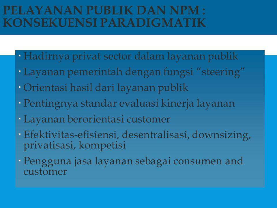 """PELAYANAN PUBLIK DAN NPM : KONSEKUENSI PARADIGMATIK  Hadirnya privat sector dalam layanan publik  Layanan pemerintah dengan fungsi """"steering""""  Orie"""