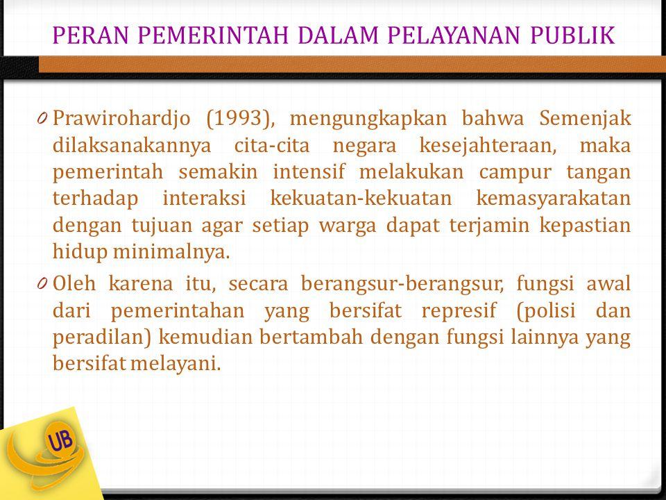 PERAN PEMERINTAH DALAM PELAYANAN PUBLIK 0 Prawirohardjo (1993), mengungkapkan bahwa Semenjak dilaksanakannya cita-cita negara kesejahteraan, maka peme