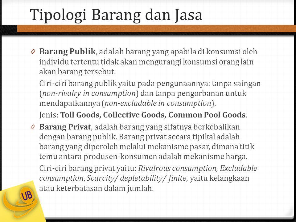 Tipologi Barang dan Jasa 0 Barang Publik, adalah b arang yang apabila di konsumsi oleh individu tertentu tidak akan mengurangi konsumsi orang lain aka