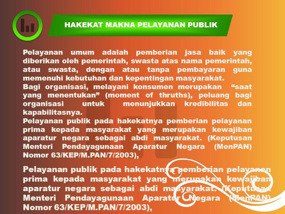 HAKEKAT MAKNA PELAYANAN PUBLIK Pelayanan umum adalah pemberian jasa baik yang diberikan oleh pemerintah, swasta atas nama pemerintah, atau swasta, den