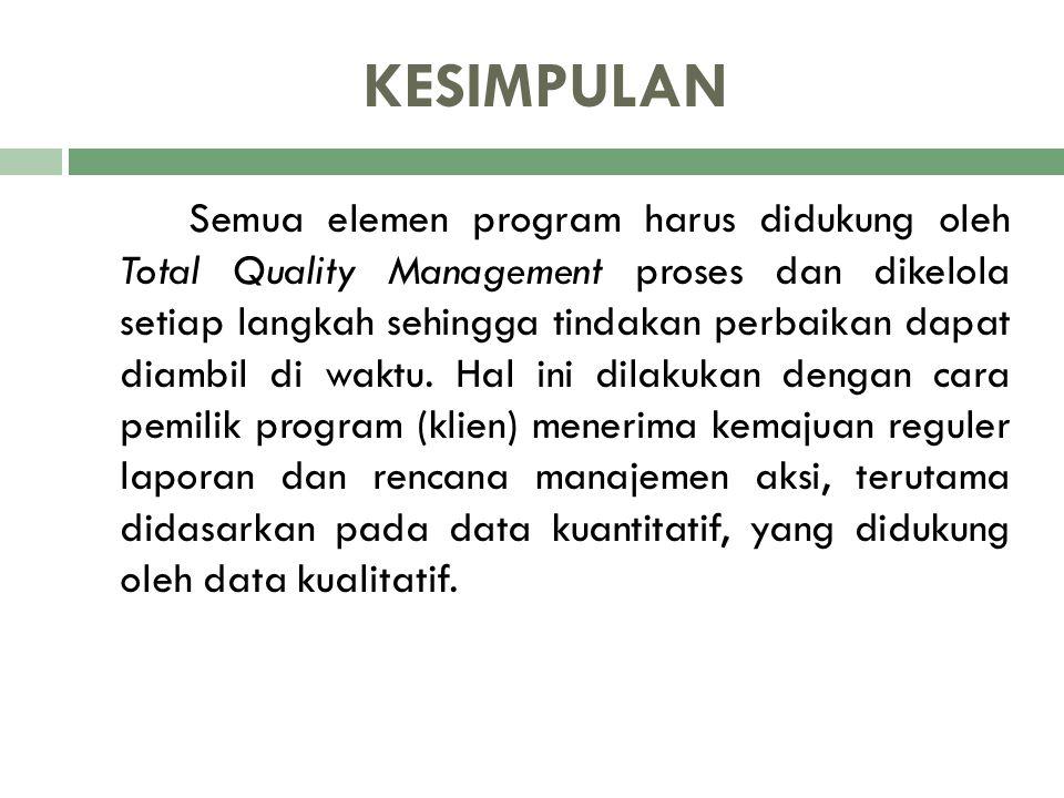 KESIMPULAN Semua elemen program harus didukung oleh Total Quality Management proses dan dikelola setiap langkah sehingga tindakan perbaikan dapat diam