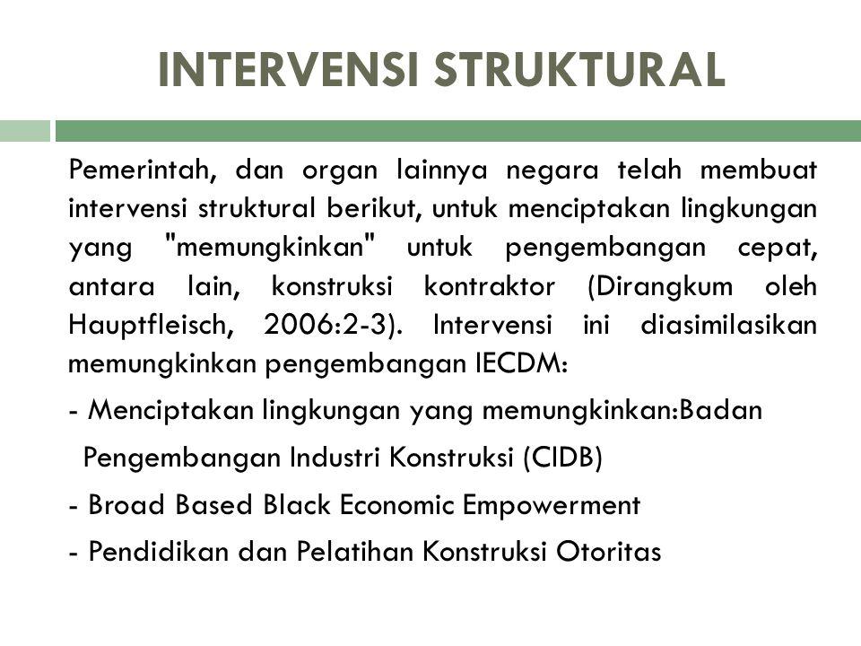 INTERVENSI STRUKTURAL Pemerintah, dan organ lainnya negara telah membuat intervensi struktural berikut, untuk menciptakan lingkungan yang