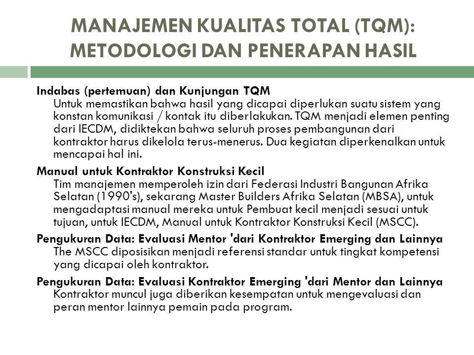 MANAJEMEN KUALITAS TOTAL (TQM): METODOLOGI DAN PENERAPAN HASIL Indabas (pertemuan) dan Kunjungan TQM Untuk memastikan bahwa hasil yang dicapai diperlu