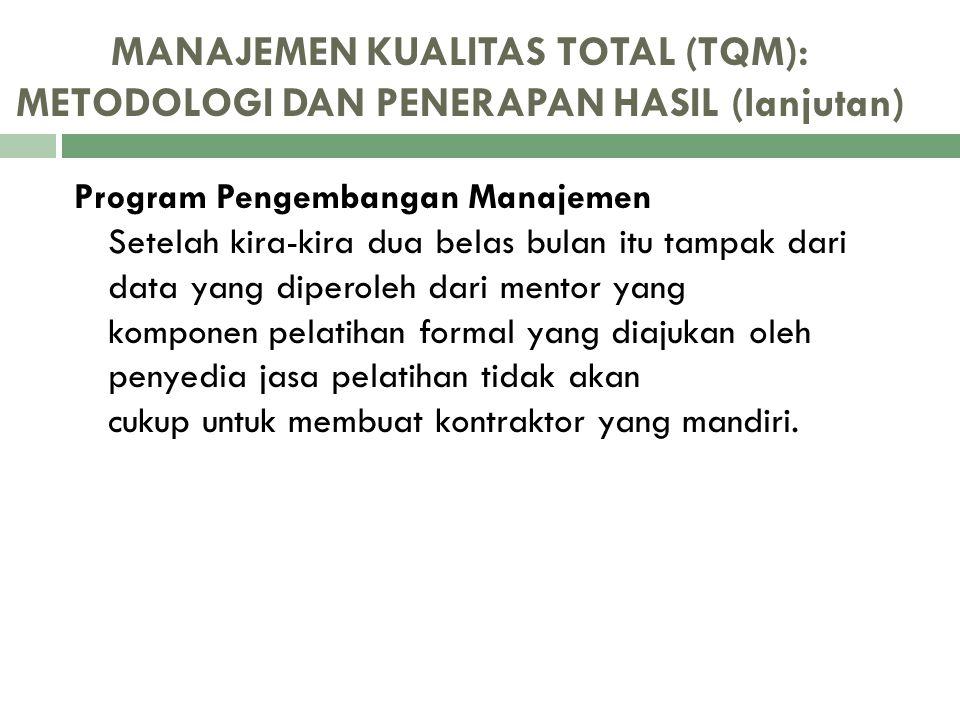 MANAJEMEN KUALITAS TOTAL (TQM): METODOLOGI DAN PENERAPAN HASIL (lanjutan) Program Pengembangan Manajemen Setelah kira-kira dua belas bulan itu tampak