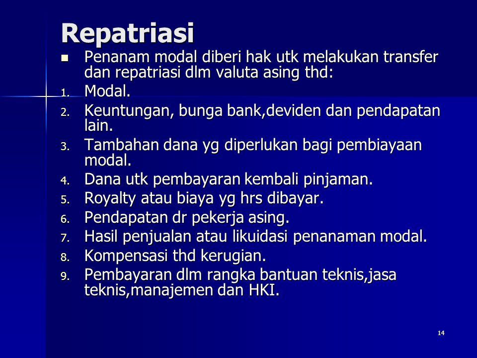 14 Repatriasi Penanam modal diberi hak utk melakukan transfer dan repatriasi dlm valuta asing thd: Penanam modal diberi hak utk melakukan transfer dan
