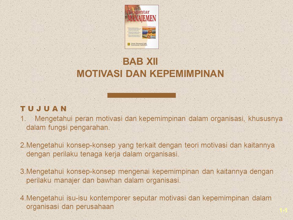 1-1 MOTIVASI DAN KEPEMIMPINAN BAB XII 1.Mengetahui peran motivasi dan kepemimpinan dalam organisasi, khususnya dalam fungsi pengarahan. 2.Mengetahui k