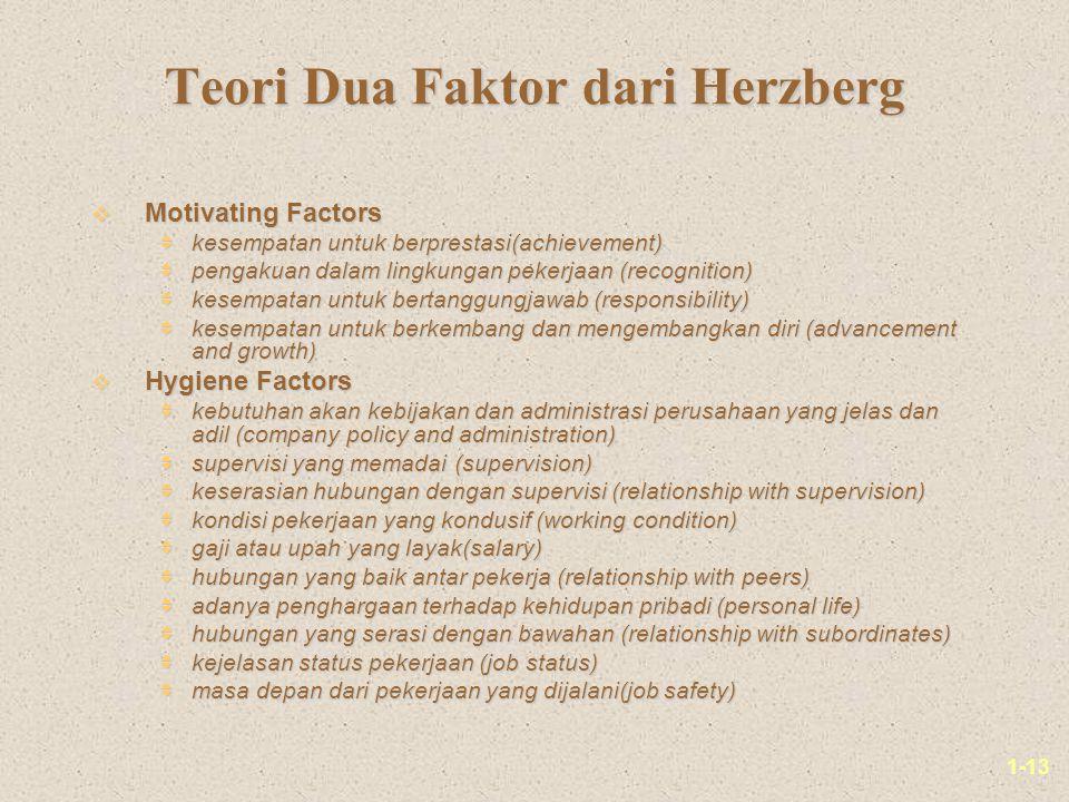 1-13 Teori Dua Faktor dari Herzberg v Motivating Factors  kesempatan untuk berprestasi(achievement)  pengakuan dalam lingkungan pekerjaan (recogniti