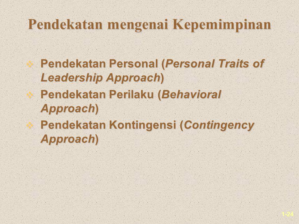 1-24 Pendekatan mengenai Kepemimpinan v Pendekatan Personal (Personal Traits of Leadership Approach) v Pendekatan Perilaku (Behavioral Approach) v Pendekatan Kontingensi (Contingency Approach)