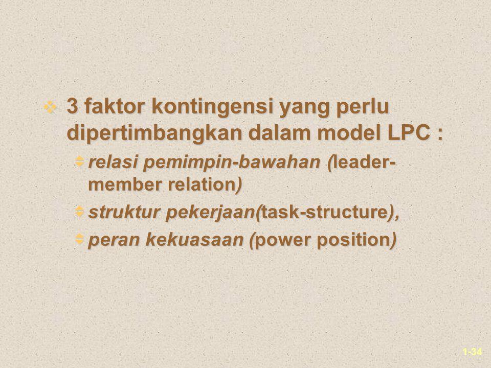 1-34 v 3 faktor kontingensi yang perlu dipertimbangkan dalam model LPC :  relasi pemimpin-bawahan (leader- member relation)  struktur pekerjaan(task-structure),  peran kekuasaan (power position)