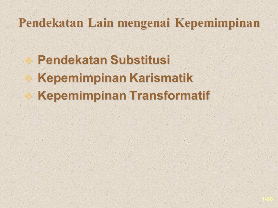 1-38 Pendekatan Lain mengenai Kepemimpinan v Pendekatan Substitusi v Kepemimpinan Karismatik v Kepemimpinan Transformatif
