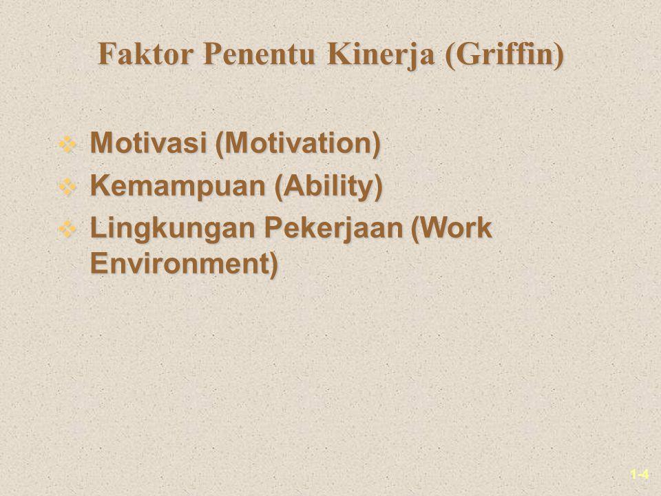 1-4 Faktor Penentu Kinerja (Griffin) v Motivasi (Motivation) v Kemampuan (Ability) v Lingkungan Pekerjaan (Work Environment)