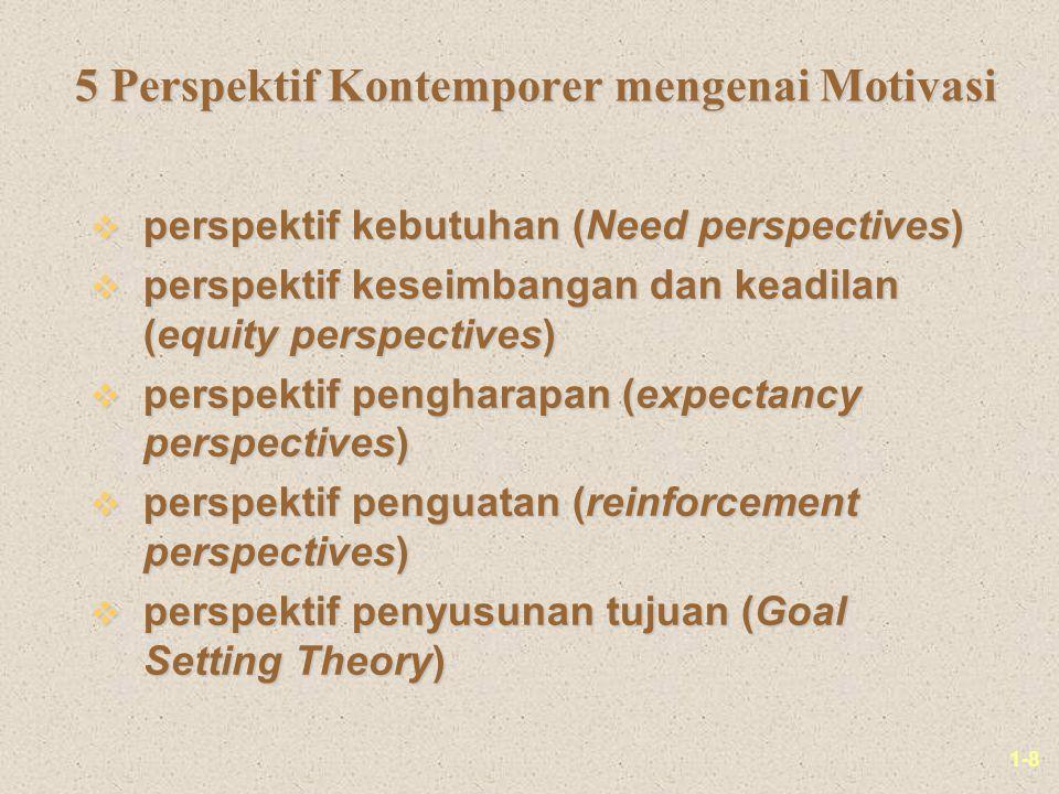 1-8 5 Perspektif Kontemporer mengenai Motivasi 5 Perspektif Kontemporer mengenai Motivasi v perspektif kebutuhan (Need perspectives) v perspektif keseimbangan dan keadilan (equity perspectives) v perspektif pengharapan (expectancy perspectives) v perspektif penguatan (reinforcement perspectives) v perspektif penyusunan tujuan (Goal Setting Theory)