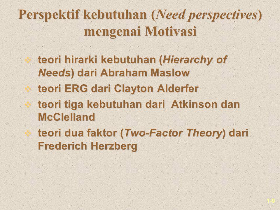 1-9 Perspektif kebutuhan (Need perspectives) mengenai Motivasi v teori hirarki kebutuhan (Hierarchy of Needs) dari Abraham Maslow v teori ERG dari Clayton Alderfer v teori tiga kebutuhan dari Atkinson dan McClelland v teori dua faktor (Two-Factor Theory) dari Frederich Herzberg