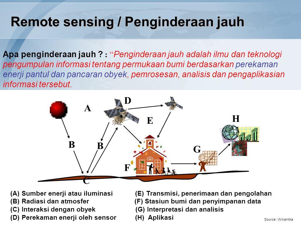 "Remote sensing / Penginderaan jauh Apa penginderaan jauh ? : "" Penginderaan jauh adalah ilmu dan teknologi pengumpulan informasi tentang permukaan bum"