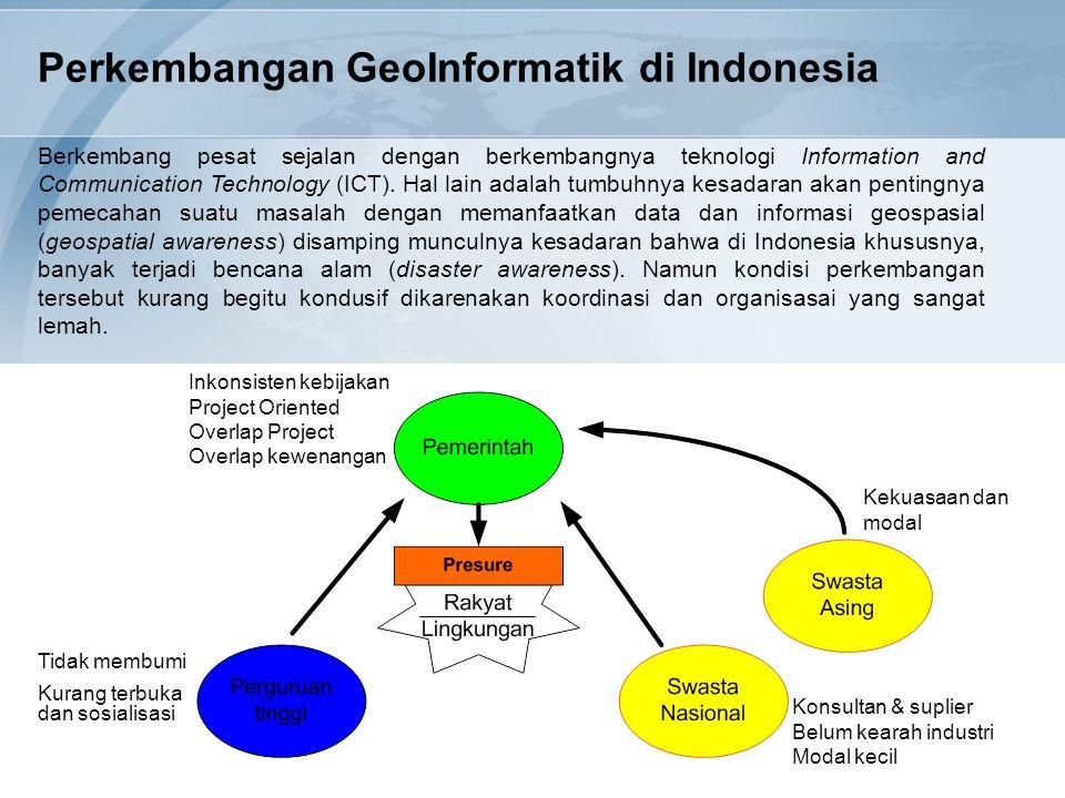 Perkembangan GeoInformatik di Indonesia Berkembang pesat sejalan dengan berkembangnya teknologi Information and Communication Technology (ICT). Hal la